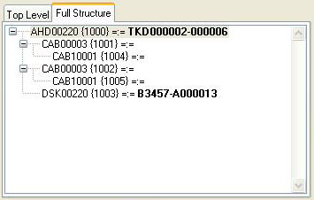 Serial Number Assignment - Full Structure pane