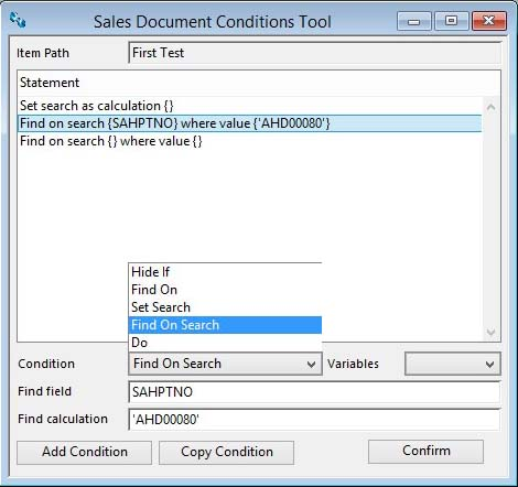 Sales Document Configuration Conditions Tool