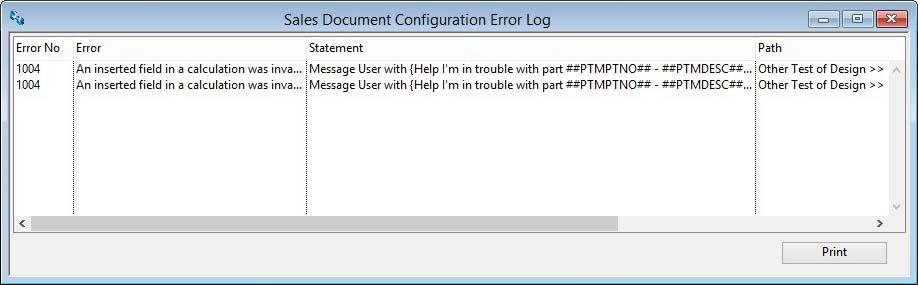 Sales Document Configuration Error Log