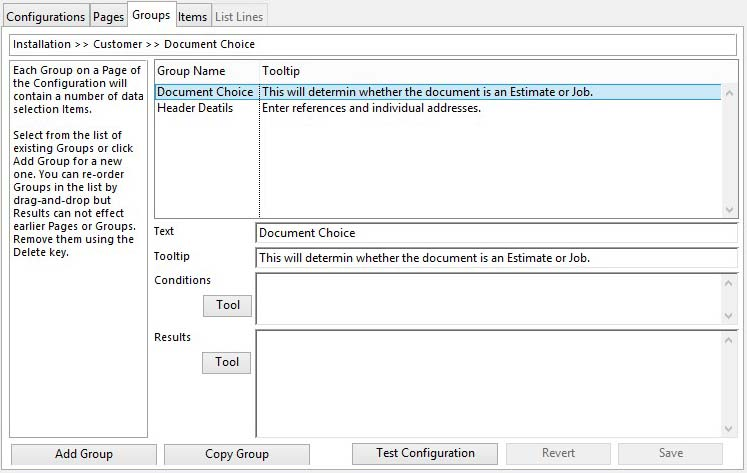 Sales Document Configuration Maintenance - Groups tab