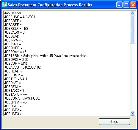 Sales Document Configuration Process Results