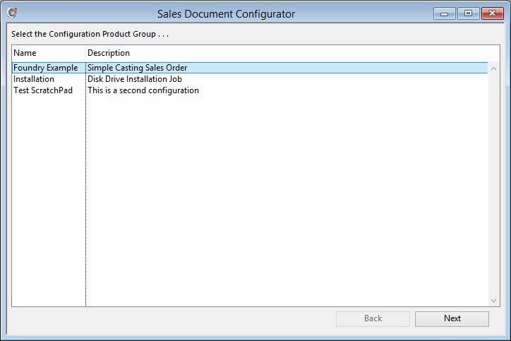 Sales Document Configurator - Configuration List