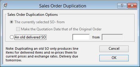 Sales Order Duplication