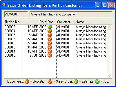 Sales Order Listing for a Part or Customer