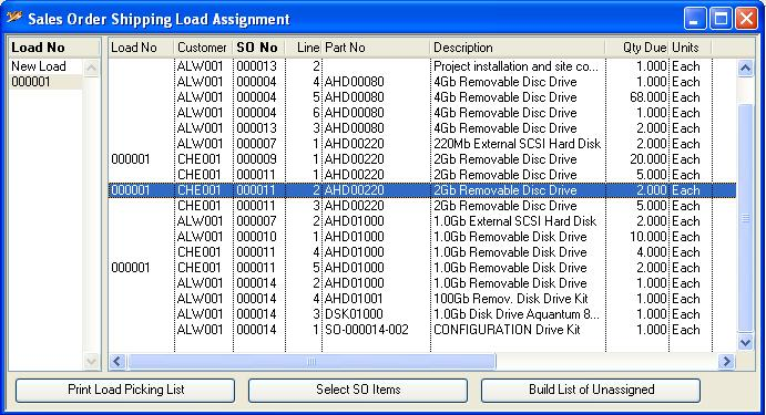 Sales Order Shipping Load Assignment