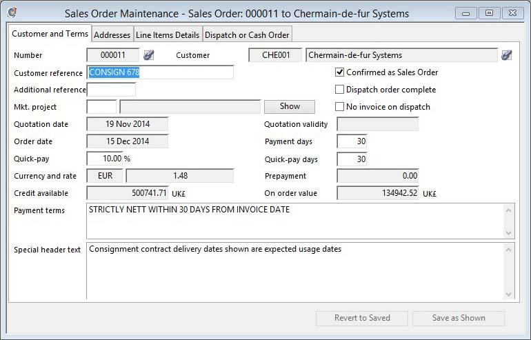 Sales Order Maintenance - Customer and Terms pane