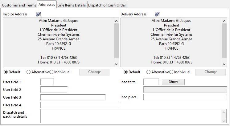 Sales Order Maintenance - Addresses pane