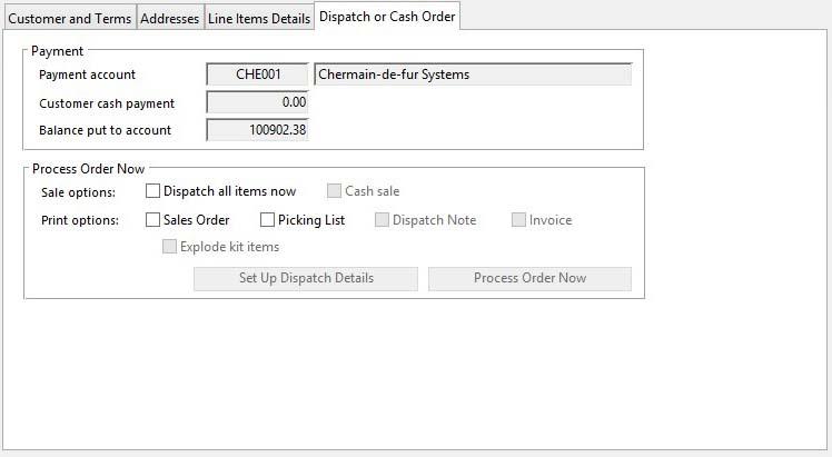 Sales Order Maintenance - Dispatch or Cash Order pane
