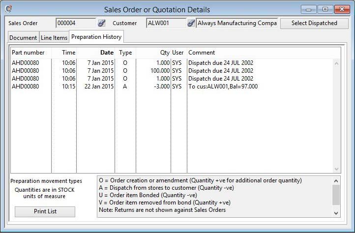 Sales Order or Quotation Details - Order Preparation pane