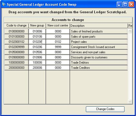 Special General Ledger Account Code Swap