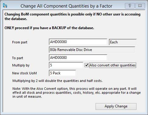 Change All Component Quantities by a Factor