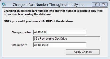 Change a Part Number Throughout the System