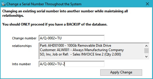 Change a Serial Number Throughout the System window