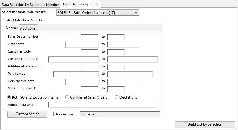 Data Peek and Poke - Data Selection by Range tab