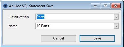 Ad Hoc SQL Statement Save