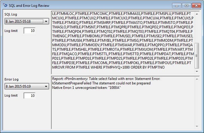 SQL and Error Log Review window