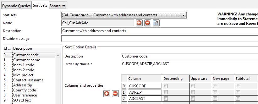 SQL Statement Manager - Sort Sets tab pane