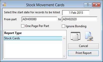 Stock Movement Cards