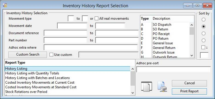 Inventory History Report Selection