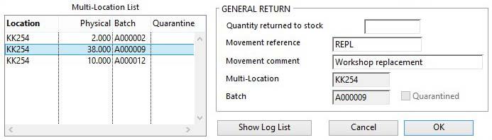 Stock Control Activities -- Return pane