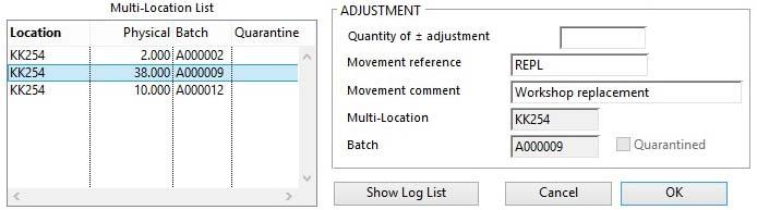Stock Control Activities -- Adjustment pane