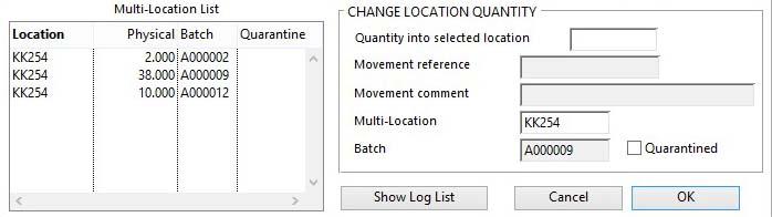 Stock Control Activities -- Change Location Quantity pane