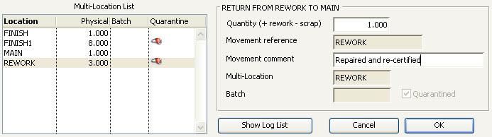 Stock Control Activities -- Scrap and Rework pane