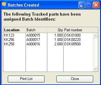Batches Created