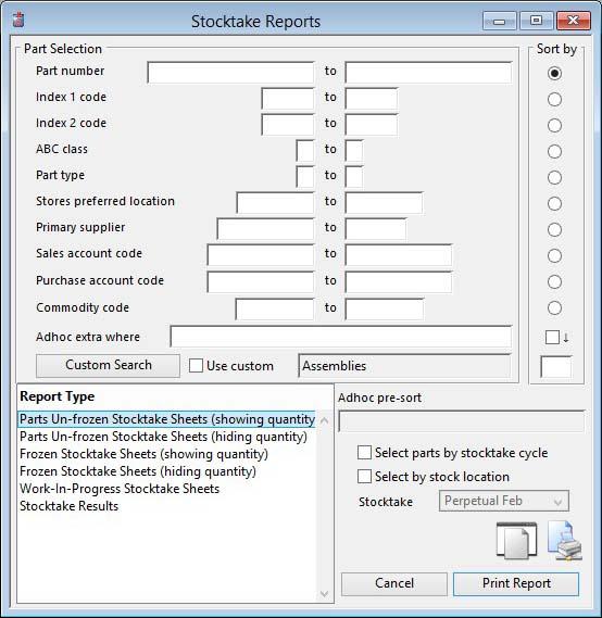 Stocktake Reports