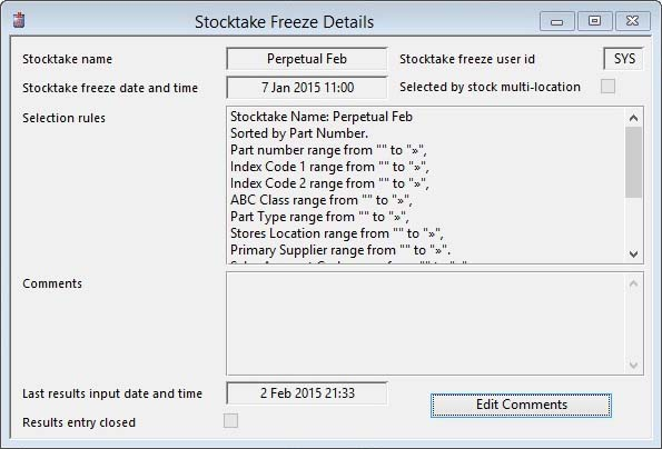 Stocktake Freeze Details