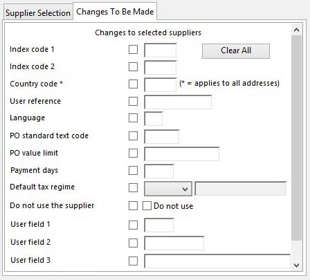 Supplier Global Changes - Changes To Be Made pane