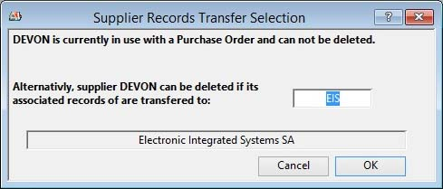 Supplier Records Transfer Selection