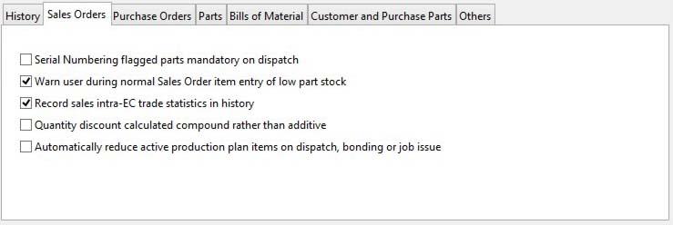 System Preferences - Sales Orders pane