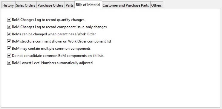 System Preferences - Bills of Material pane
