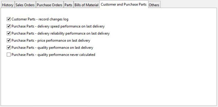 System Preferences - Customer and Purchase Parts pane