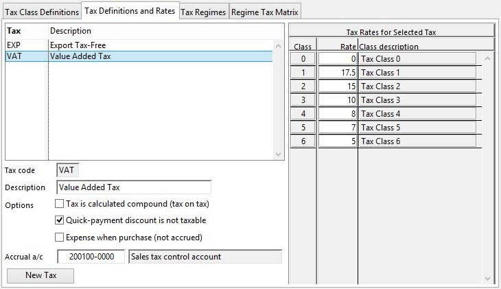 Tax Maintenance - Tax Definitions and Rates Pane