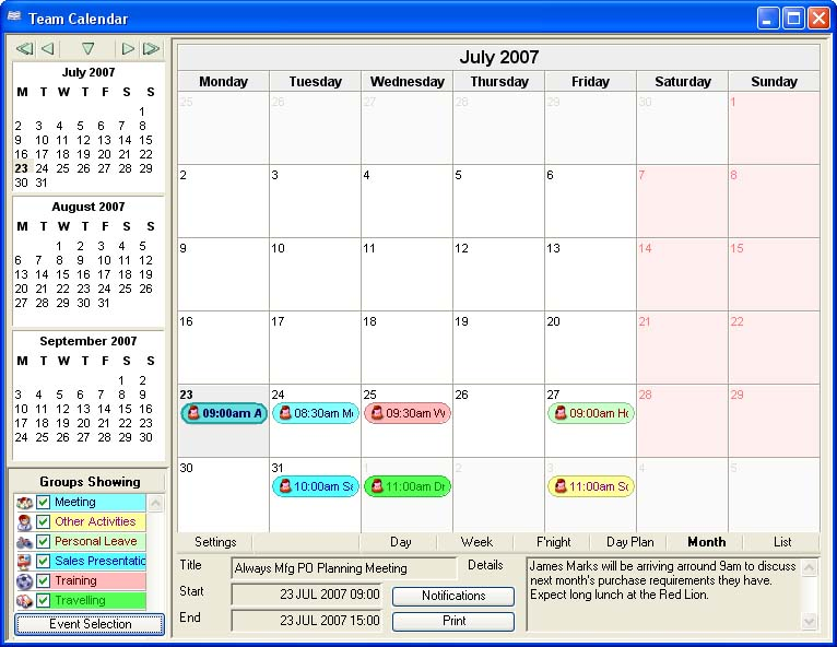 Team Calendar in Month view.