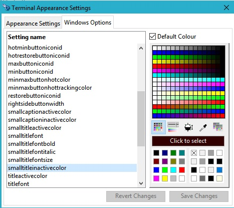 Terminal Appearance Settings window
