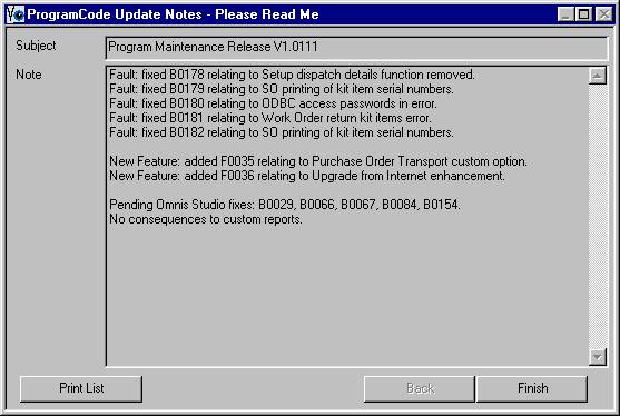 Update Notes window