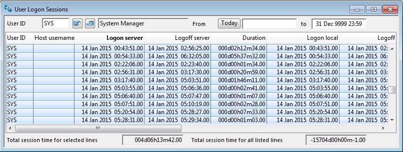 User Logon Sessions window