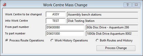 Work Centre Mass Change