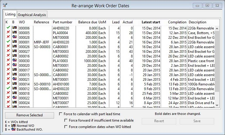 Re-arrange Work Order Dates - Listing pane