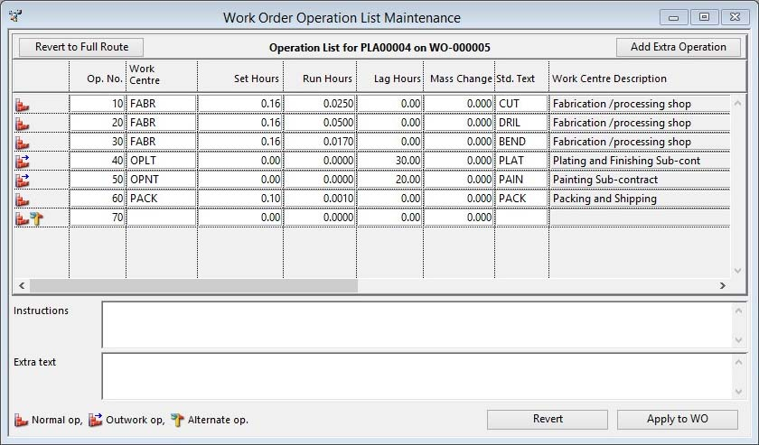 Work Order Operation List Maintenance