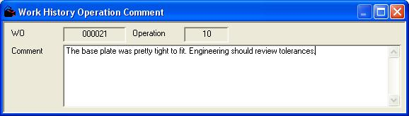 Work History Operation Comment Dialog