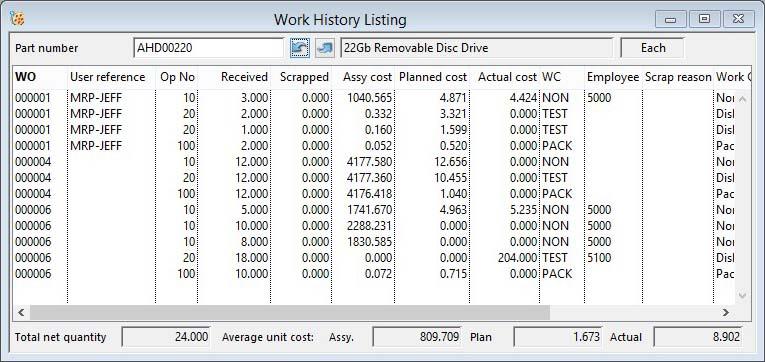 Work History Listing