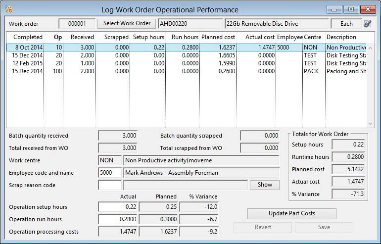 Log Work Order Operational Performance