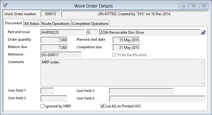 Work Order Details - Document pane