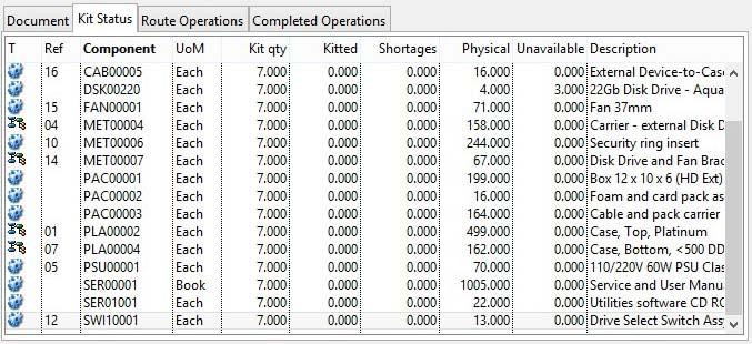Work Order Details - Kit Status pane