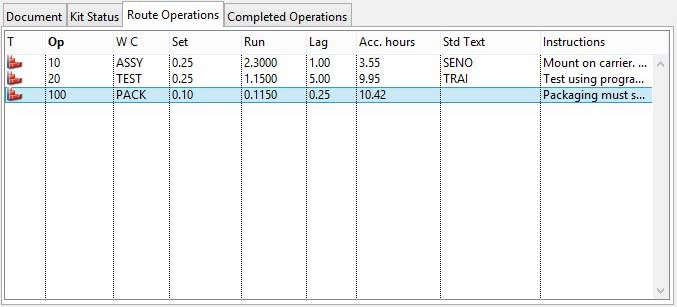 Work Order Details - Route Operations pane