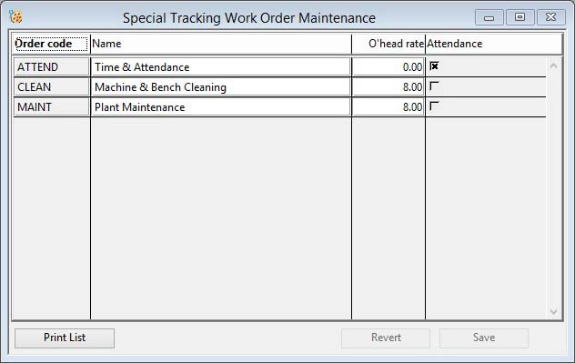 Special Tracking Work Order Maintenance
